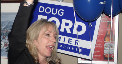 Kanata-Carleton Progressive Conservative candidate Dr. Merrilee Fullerton cheers with her supporters at a Kanata bar, following her election victory on June 7. Photo by Jake Davies
