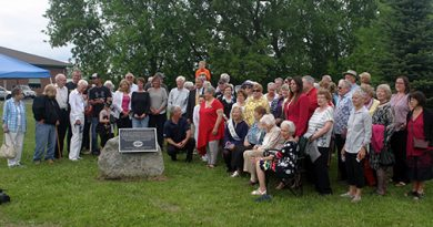 Dunrobin and District Women's Institute members, WI members from far and wide, the Younghusband family, friends and supporters pose for a photo with the new plaque at the 100th anniversary of the institute in 2018. Photo by Jake Davies