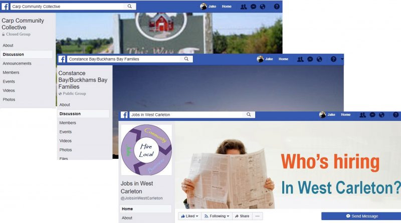 Some of the Facebook pages created to serve the West Carleton Community.
