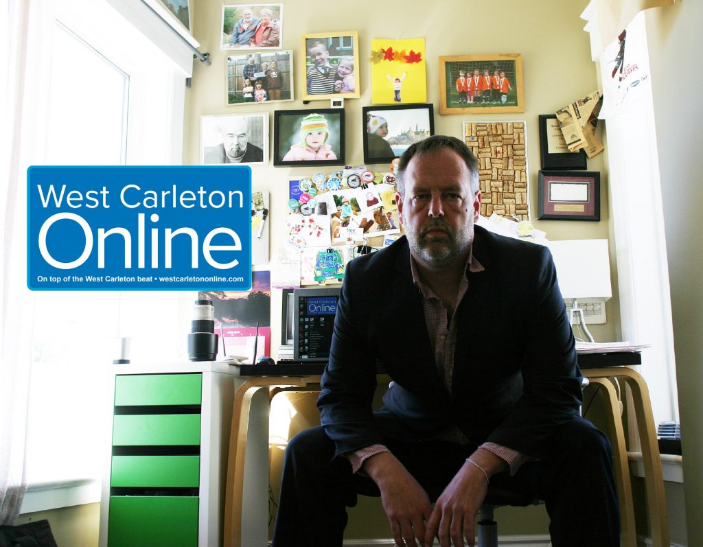 West Carleton Online publisher Jake Davies in his office. Photo by Jake Davies