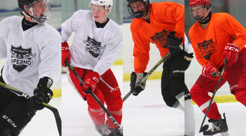 From left, Dan Carroll, Joe Carroll, Cameron Duhn and Jacob Duhn play a little four-on-four at the Beckwith Rec Complex near Carleton Place on Aug. 21. While the new junior C Inferno may not see any of these local products on the ice once the season starts, try-outs are coming soon, and the Inferno plays its first National Capital Junior Hockey League home game Oct. 6 at 8 p.m. For details, visit www.InfernoJuniorHockey.com. Photo by Nevil Hunt