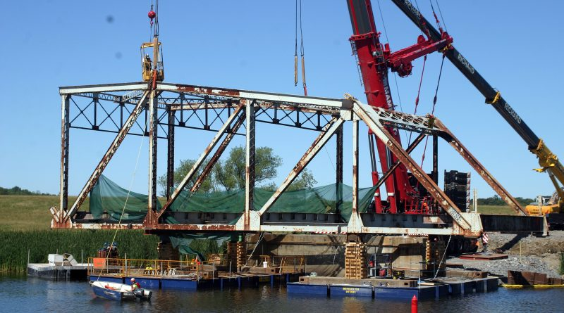 Provincial work crews and engineers took the 64-year-old bridge over the Mississippi River down on Friday, Aug. 10, 2018. Photo by Jake Davies