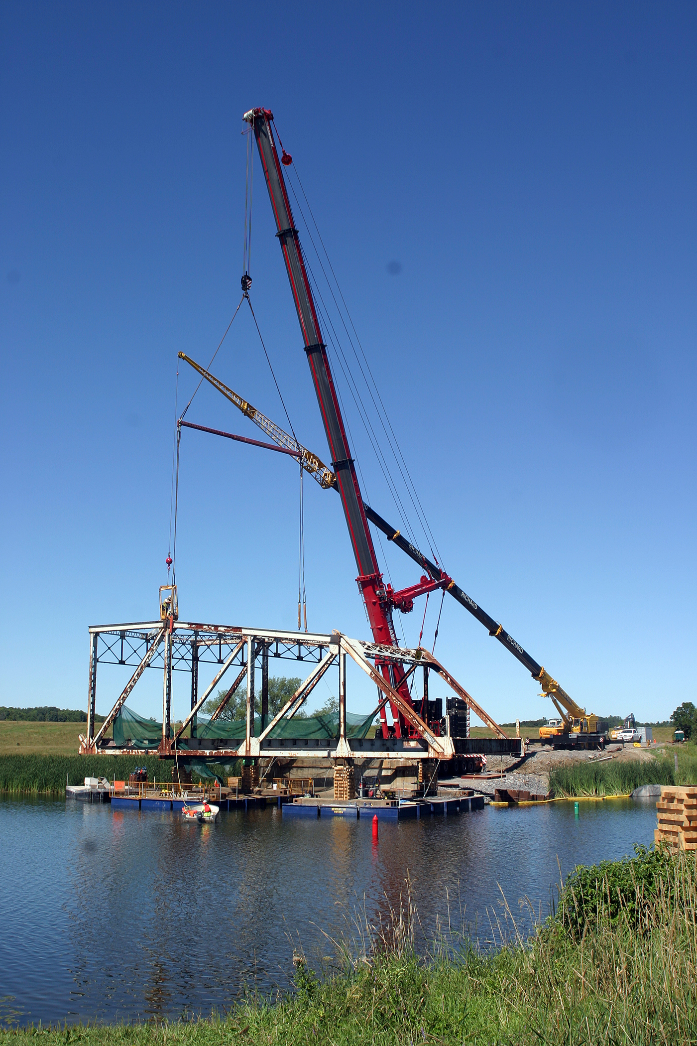 Two large cranes were used in the process including one with a counter-balance of 500 tonnes. Photo by Jake Davies