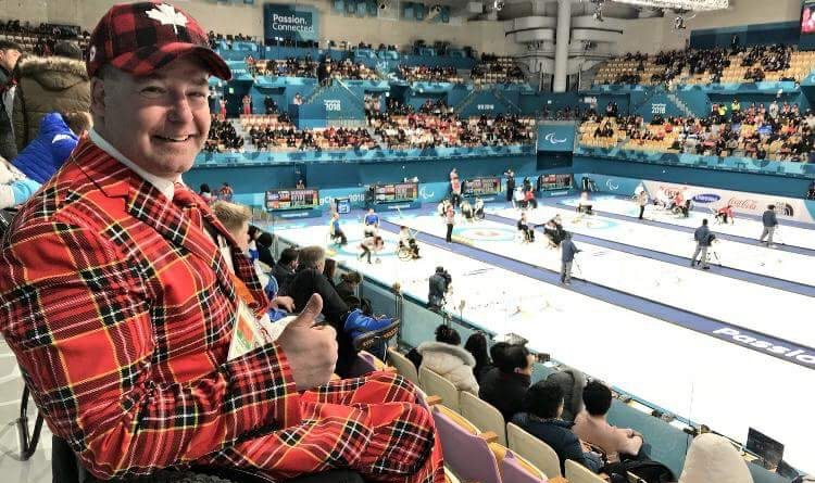 Multi-Paralympic medal winning para ice hockey player Todd Nicholson does his best Don Cherry impression at last year's Winter Paralympic Games. Photo submitted