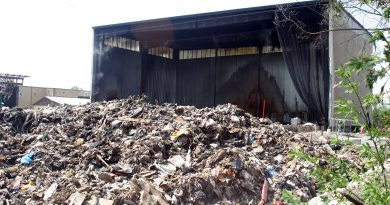 Yesterday's fire destroyed a Tomlinson storage building filled with waste. The smell was worse than the sight. Photo by Jake Davies