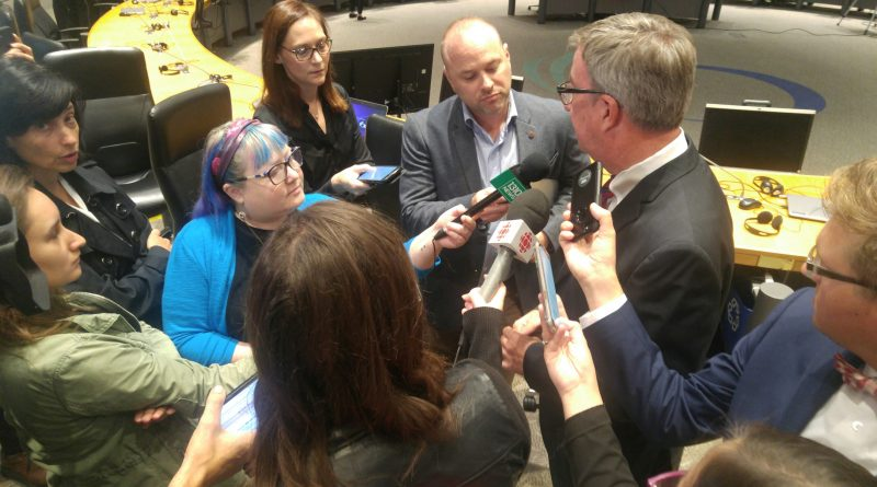 City Hall reporters question Mayor Jim Watson on LRT following yesterday's announcement Confederation Line would not be completed in 2018. Photo by Jake Davies