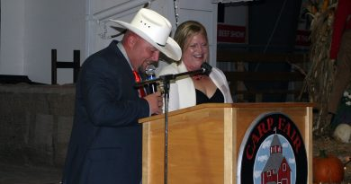 Carp Fair President of Agriculture Chad Findlay and President of Homecraft Lisa Belton get emotional sharing their thoughts on the 155th edition of the Carp Fair. Photo by Jake Davies