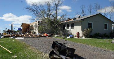 Jason Nicholson's home was the first victim of Friday's tornado. Photo by Jake Davies