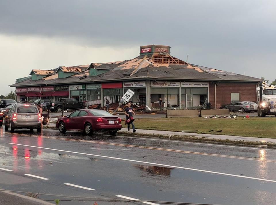 The Dunrobin strip mall was severly damaged forcing the closure of severa business. Photo courtesy Facebook