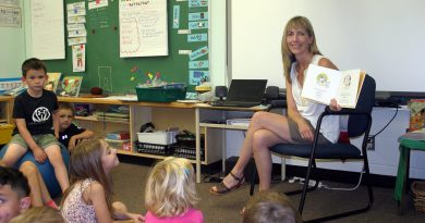 St. Mike's new principal Penny Zorn reads to Kindergarten students. Photo by Jake Davies