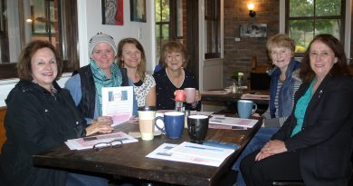 Elizabeth barnes, second from left, shares a hot drink and frank talk on breast cancer at Alice's Village Cafe on Oct. 2. Photo by Jake Davies