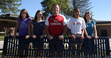 From left, students Shanna Deugo, Kaya Novotny, Principal Jay Blauer, students Suzanna Persaud and Laurel Pychyl. Photo by Jake Davies