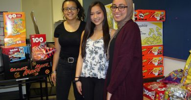 WCSS Sylvia Qi, centre, was honoured with an OCDSB 2019 Student Recognition Award last Thursday evening. In this photo, Qi poses with WCSS Student Council co-president Samanatha Sharp and council member Yumna Nummer during the school's trick or treat event. Photo by Jake Davies