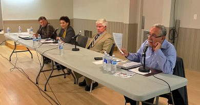 From left, moderator Allan Joyner, candidates Judi Varga-Toth, James Parsons and Eli El-Chantiry at Thursday's all candidates meeting. Photo by Diane Sawchuk