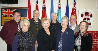 The new FTHS board poses for a photo after dinner. In the back row, from left, are Warren Lesway, Jim Armstrong, Pat Armstrong and Terry Currie. In front are Betty Dowd, Elaine Patterson, Iva Duncan and Pat Tait. Photo by Jake Davies