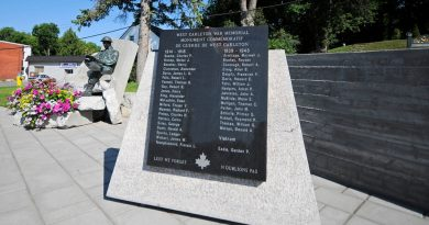 The West Carleton War Memorial in Carp will be site of Sunday's Remembrance Day services. The West Carleton Royal Canadian Legion will have a service on Saturday. Photo submitted