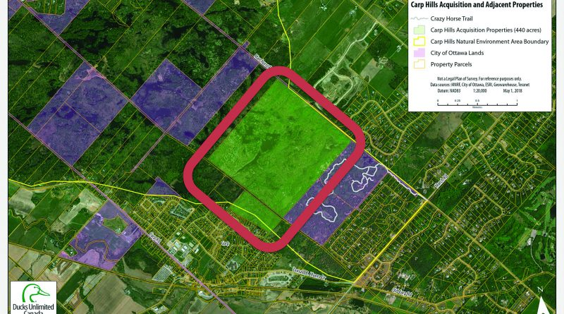 An arial view of the Ducks Unlimited property, circled in red. Submitted