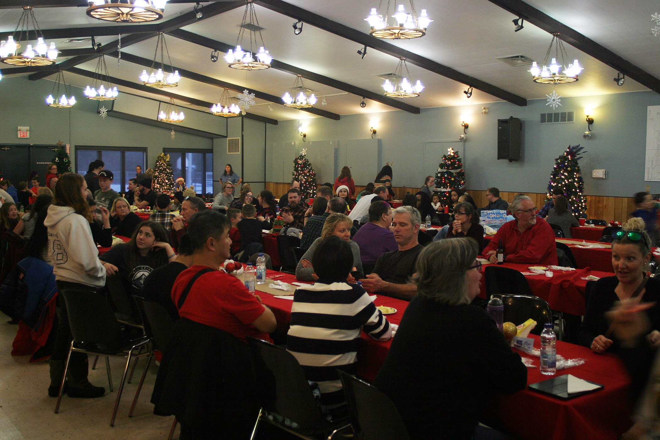 More than 200 familes affected by the Sept. 21 tornado attended a special Christmas dinner organized by Lori McGrath on Saturday, Dec. 15. Photo by Jake Davies