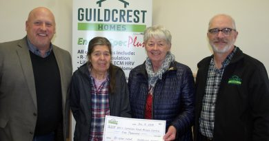 From left, Guildcrest Home's Sean Kelley, WCFAC's Mary Braun and Sharon Roper and Guildcrest Home's George Tierney pose for a photo. Photo by Jake Davies