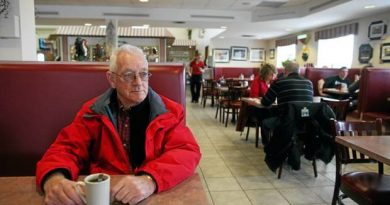 Jack Cameron has a coffee at The Antrim Truck Stop. Photo courtesy Boyce Funeral Home