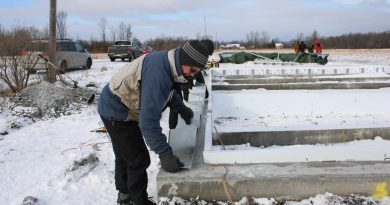 Even in the cold, work is being done on the Deep Roots Food Hub food cellar. Courtesy Deep Roots Food Hub