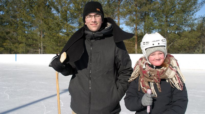 Cameron and London Douglas, whose grandmother lives in the Harbour, took a skate on the ODR during the Fitzroy Harbour Winter Carnival Saturday. Photo by Jake Davies