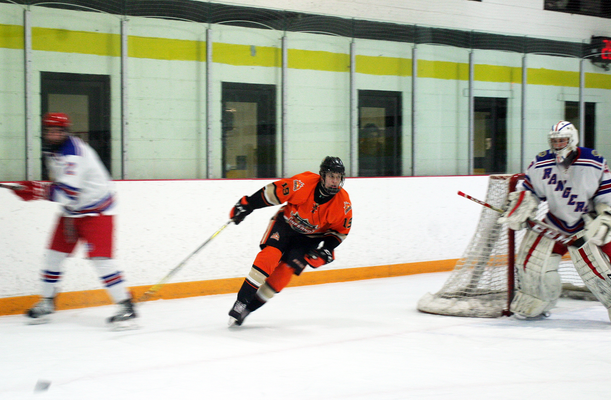 Inferno forward Kyle Dykes hustles back after a shot on net against the South Grenville Rangers last Sunday. Photo by Jake Davies