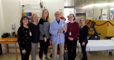 John Coderre shares his award with the AGH Physiotherapy staff. From left are Kim Dyer, Physiotherapist; Patti Morton, Physiotherapist; Crystal Higginson, Physiotherapist; John Coderre, Volunteer; Cheryl Moore Receptionist; and Diane Villeneuve, Receptionist/Physiotherapy Aide. Courtesy AGH