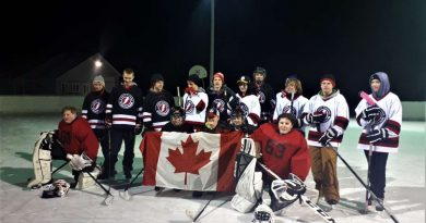 The Almont Pakenham Thunder took to the Corkery ice last Friday evening. Photo by Chris George