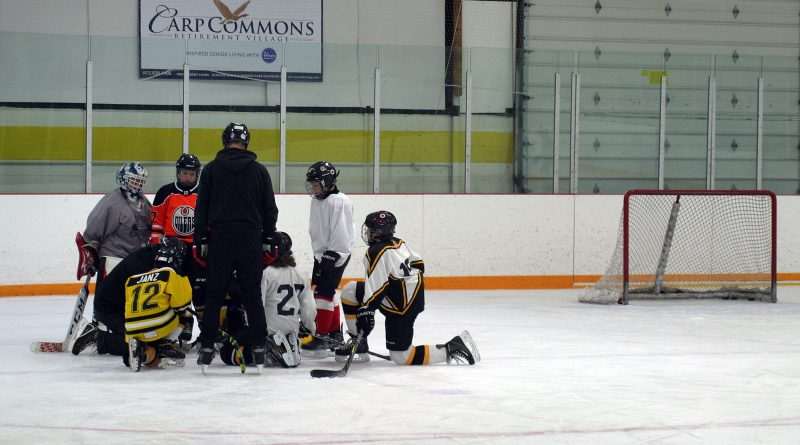 The West Carleton Warriors pee wee A team, photographed at a recent practice, have made the Top Three of the Chevy Good Deeds Cup. Photo by Jake Davies