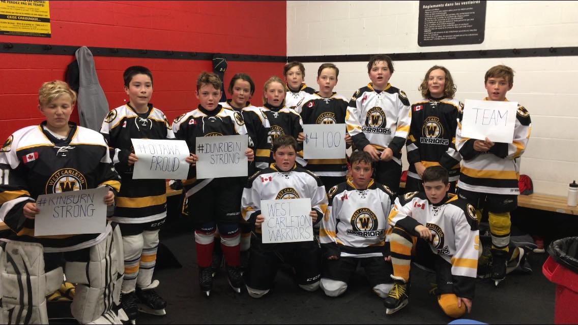 The West Carleton Warriors pee wee A team is this close to earninig $100,000 for West Carleton Disaster Relief. Photo courtesy The Warriors
