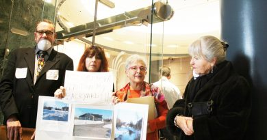 From left, Carp residents Dan Mayo, Elia Bisson, Sue Prior and Jo Saunders lobby outside of council chambers today. Photo by Jake Davies