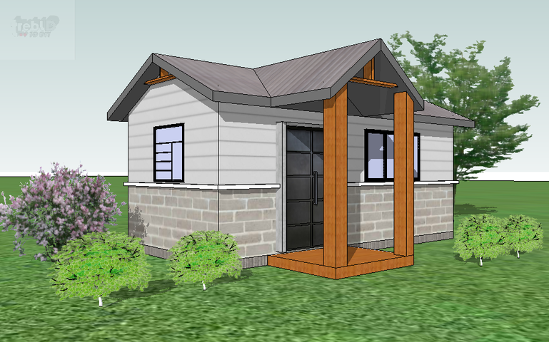 An artist rendition of the exterior of a 250-sq.-foot Homble Creek Home