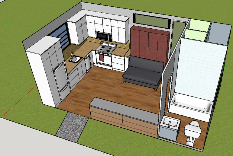 An artist rendition of the interior of a 250-sq.-foot Homble Creek Home.