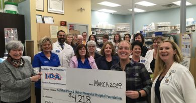 Pictured above are monthly supporters, IDA Carleton Place Drugmart Staff Co-Owner Karim Merani (top left) CPMDH Foundation Board Members (left to right behind cheque) and CPMDH Foundation's Executive Director, Robyn Arseneau (bottom right). Photo courtesy CPDMH