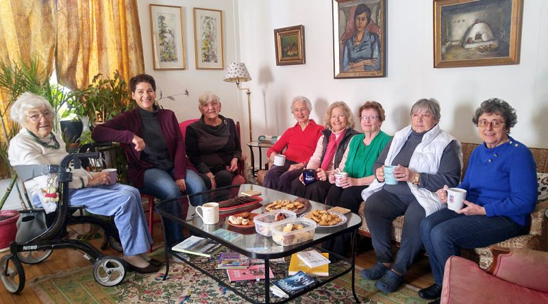 From left, WI members Juanita Snelgrove, Judi Varga-Toth, Joan Plouffe, Ruth Kennedy, Beth McEwen, Adele Muldoon, Pam Smith-Hlady and Caroline Young attend a Last Tea at the 150-year-old pale green home at the Dunrobin intersection. Courtesy Beth McEwen