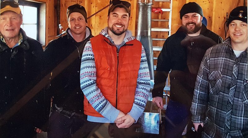 STD Maple, from left, Don Armstrong, Trevor Barton, Donald Armstrong, Tommy Armstrong and Scott Barton, in the sugar shack ready to go. Courtesy STD Maple