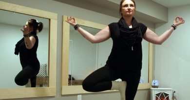Tree Pose Yoga instructor Victoria Lefebre shows off her, what else, tree pose inside her new studio. Photo by Jake Davies