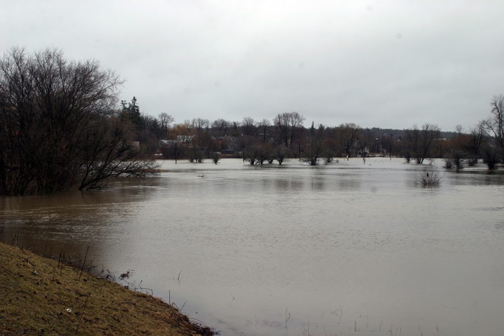 The Carp River looks more like the Carp Ocean today (April 15) as the banks burst around the village with river now reaching the roads and swamping many properties in the area. Photo by Jake Davies
