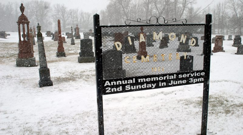 The snow was coming down April 9 at the Diamond Cemetary on Diamondview Road, and tomorrow it will be the rain. Up to 40 millimetres. Photo by Jake Davies