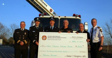 In the photo, from left, is Rural Sector Chief Tim McNeely, Capt. Mathieu Desjardins, Lt. Anthony VanMunsteren, WCDR Co Chair Greg Patacairk, Coun. Eli El-Chantiry and District 6 Sector Chief Bill Bell. Photo by Jake Davies