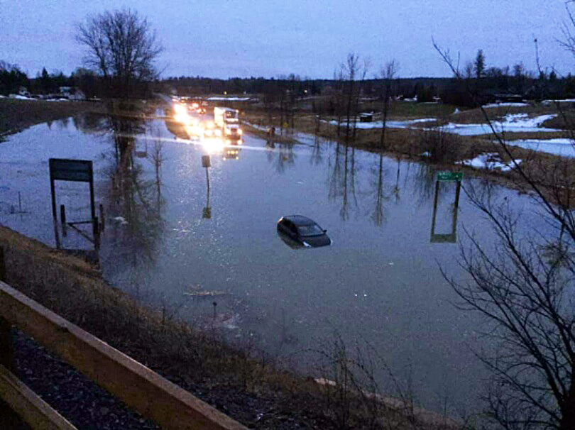 Highway 29 was underway at McWatty Road early this morning right where the road enters the Village of Pakenham. Photo by Kait Hazel
