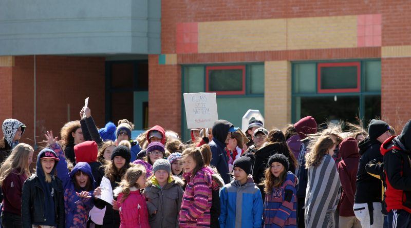 Stonecrest students join the April 4, 2019 provincial student walkout protesting government cuts to Ontario education. West Carleton public schools will be closed Wednesday due to to job action by teacher unions. Photo by Jake Davies