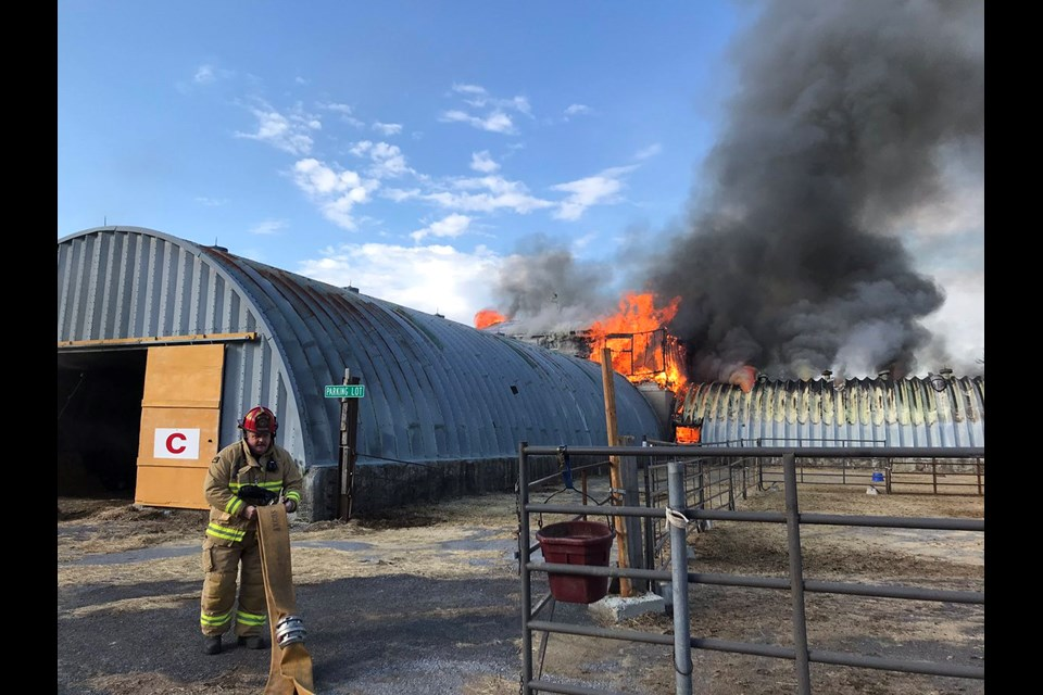Twelve horses were saved from the Tuesday morning blaze. Courtesy OFS