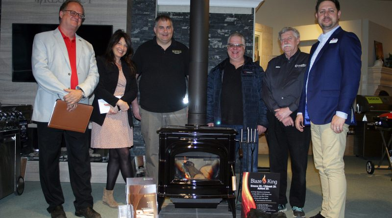 From left, Andy Cotnam, The Fireplace Centre, Michelle Wilson, Team Harding Comfort, Sean Holtom, Top Hat Home Comfort, Mike Pilon, Romantic Fireplaces, Clive Badcoe, Team Harding Comfort and Adam De Caire, Hearth, Patio & Barbecue Association of Canada. Photo by Jake Davies