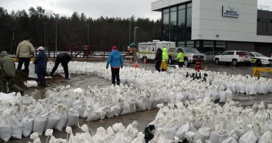 Sandbagging operations have been extended in Constance Bay today and tomorrow as residents get ready for the river to peak sometime this weekend. Photo by Jake Davies