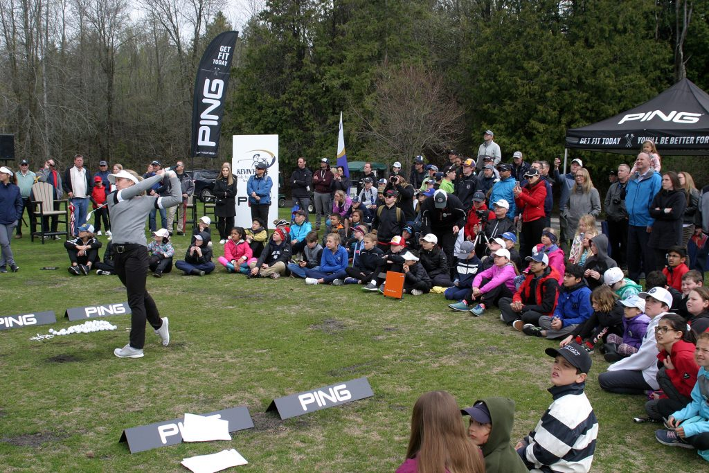 More than 100 young golfers, parents and fans took the opportunity to see Canada's gretaest golfer and Smith Falls native Brooke Henderson put some work in. Photo by Jake Davies