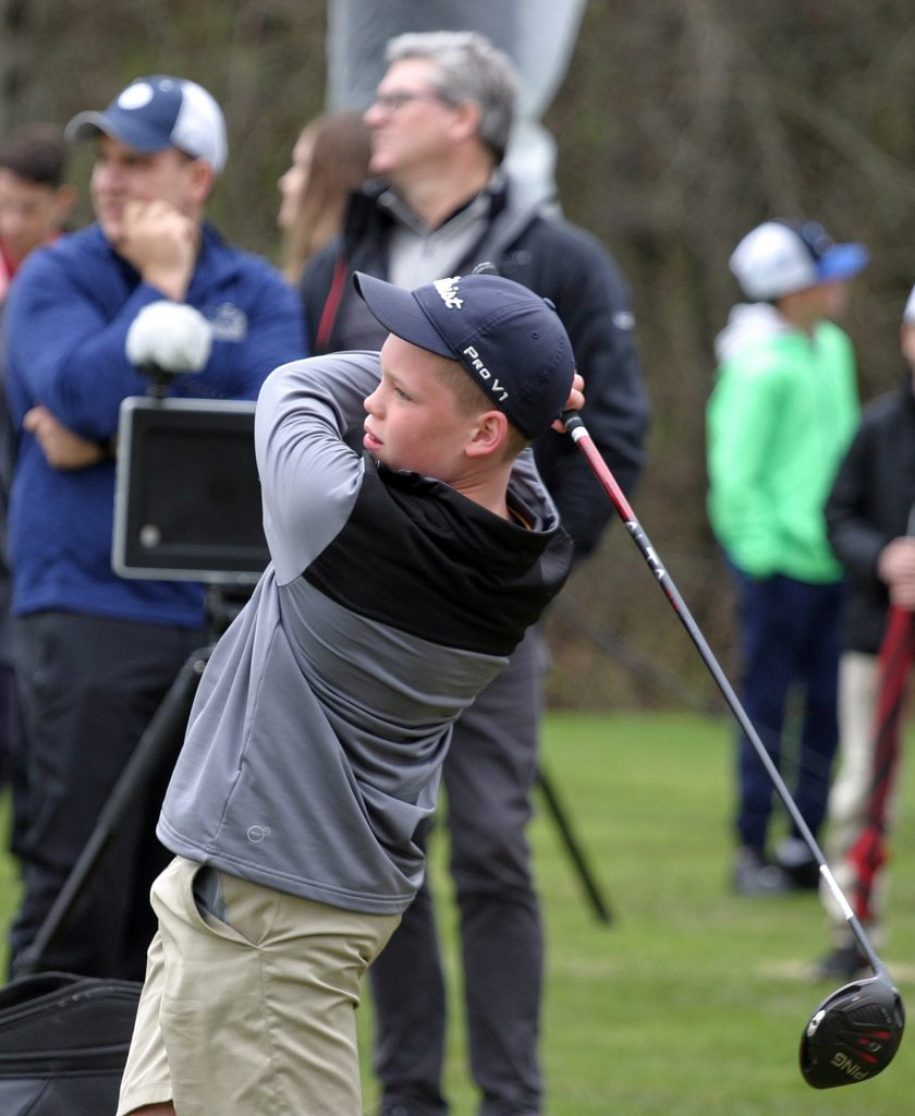 Dunrobin's Matthew Ireland, 12, had the opportunity to have his swing computer-analyzed after being professionally fit with a PING driver. Photo by Jake Davies