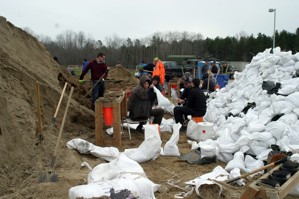Volunteers were still hard at work at the Constance Bay community centre filling sandbags on May 1. Photo by Jake Davies