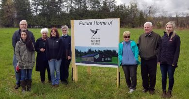 Board members pose for a photo, taken last May, at the new site of the bird care centre. In the back, from left, are Eric Garrison, Barbara Adams and Juliette Marczuk. In front at left are Kelly Reid and Mireille Goguen. At right are Cathy Bielak, Robert Burns and Jennifer Bushie. Courtesy the OVWBCC